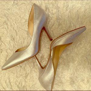 Nine West silver kitten heels SZ 7